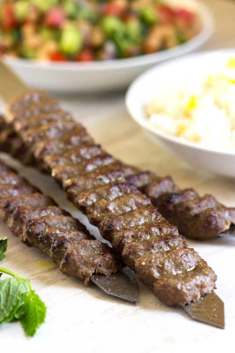 These Grilled Beef And Lamb Kabobs Come Together Quickly Are Made With Ground Beef And Or Lamb Grated Oni Lamb Kabobs Beef Kabob Recipes Persian Kabob Recipe