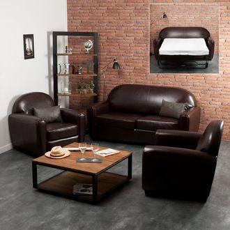 canap club 2 places convertible 2 fauteuils clubs cro te de cuir enduite
