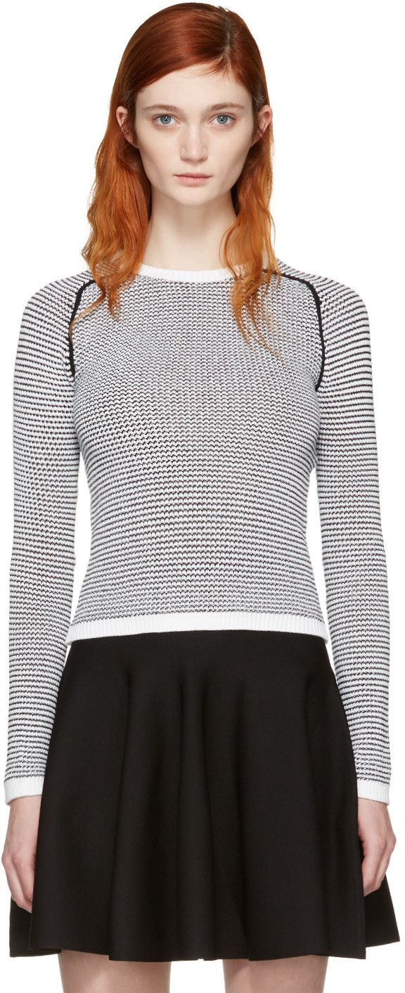 Black & White Knit Sweater | White knit sweater, Carven and Rib knit