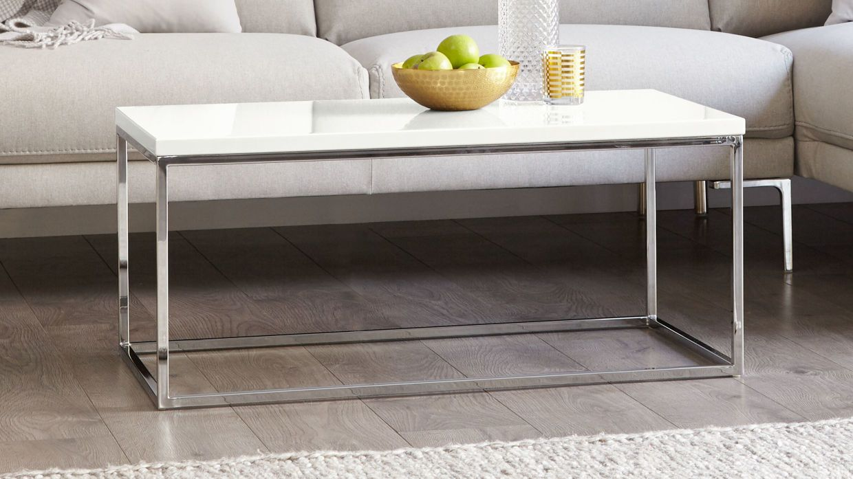 Acute Large White Gloss and Chrome Coffee Table £149.00