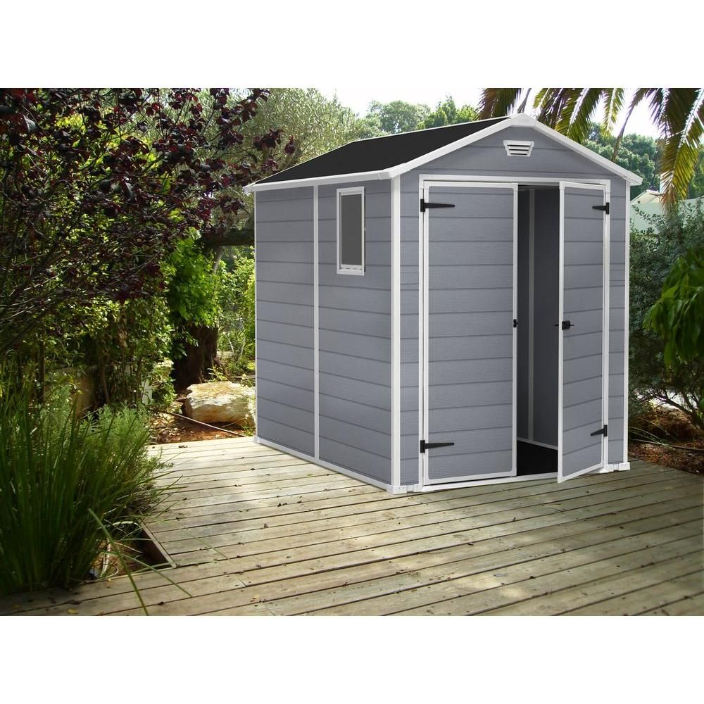 Keter Manor 6 Ft X 8 Ft Outdoor Storage Shed 213413 The Home Depot In 2020 Plastic Storage Sheds Plastic Outdoor Storage Plastic Sheds
