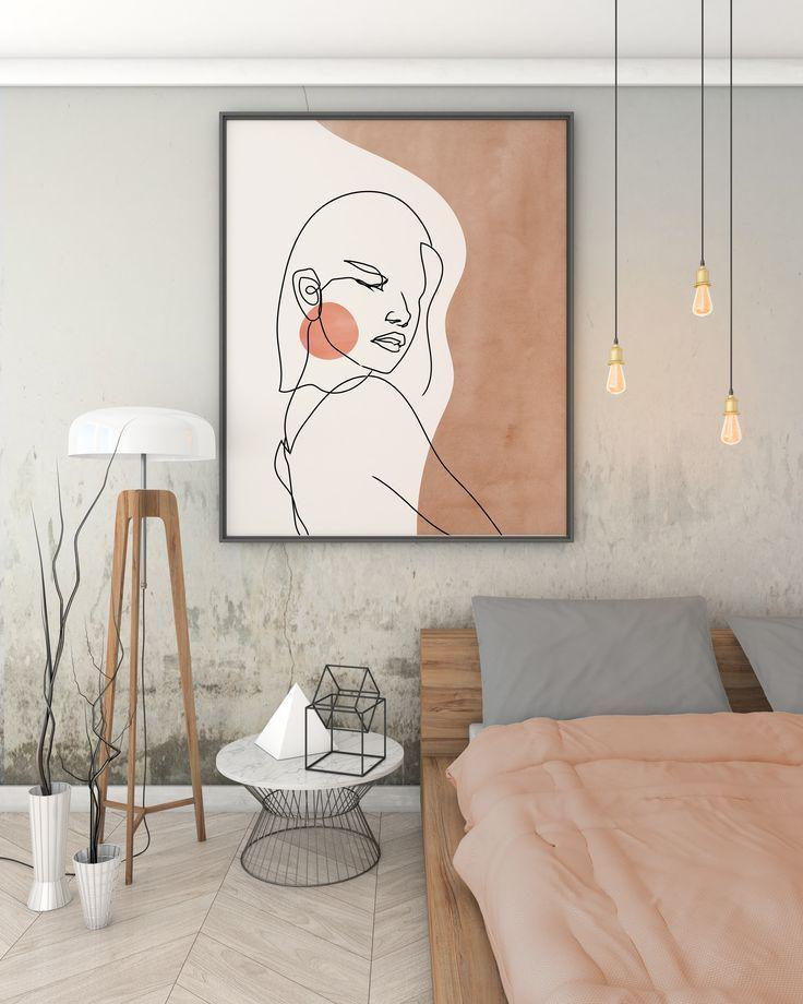 Woman Face Single Line Drawing, Abstract Face Line Art Print, Bohemian Neutral Colors Wall Art, Line Art Earth Tones Minimal Art Boho Decor in 2020 | Abstract line art, Single line drawing, Abstract faces