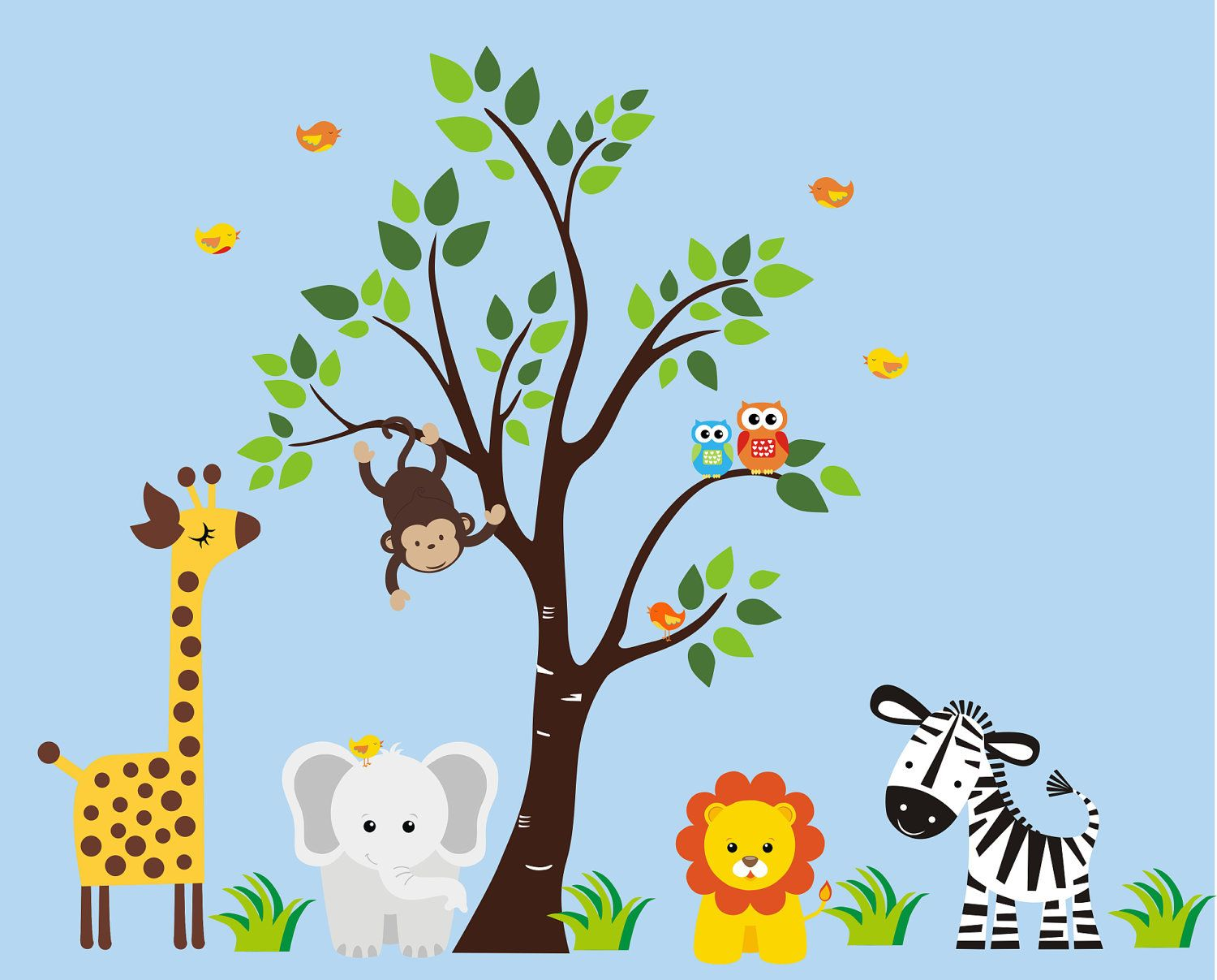 Tree Wall Decal With Jungle Animals   Nursery Wall Decal   Children Wall  Decal   191.1