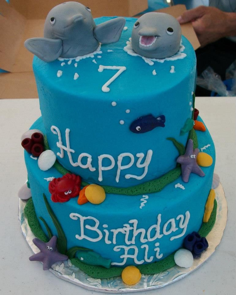 Dolphin Themed 6th birthday cake by NotJustCakesByAnnie