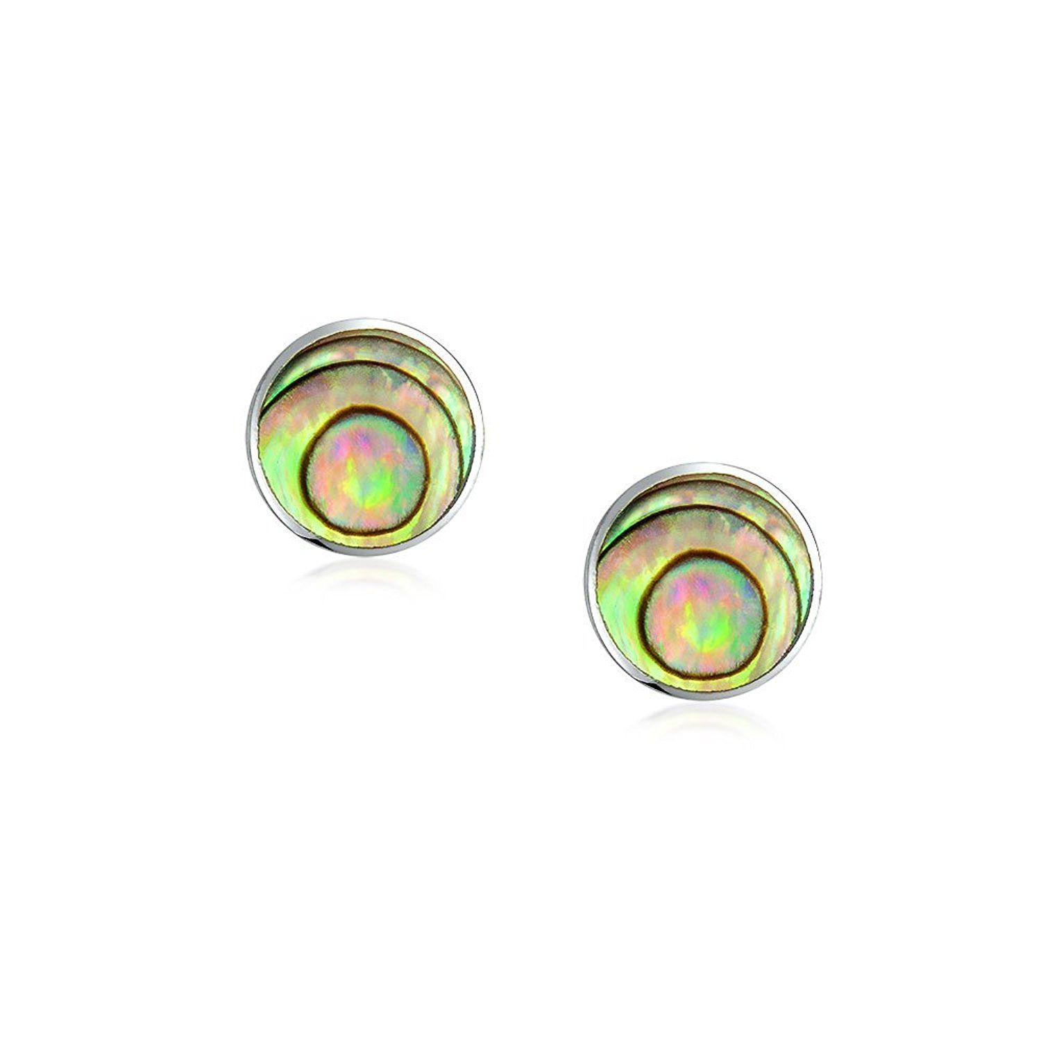 bezel set shell sterling stud pin silver earrings jewelry bling abalone round iridescent