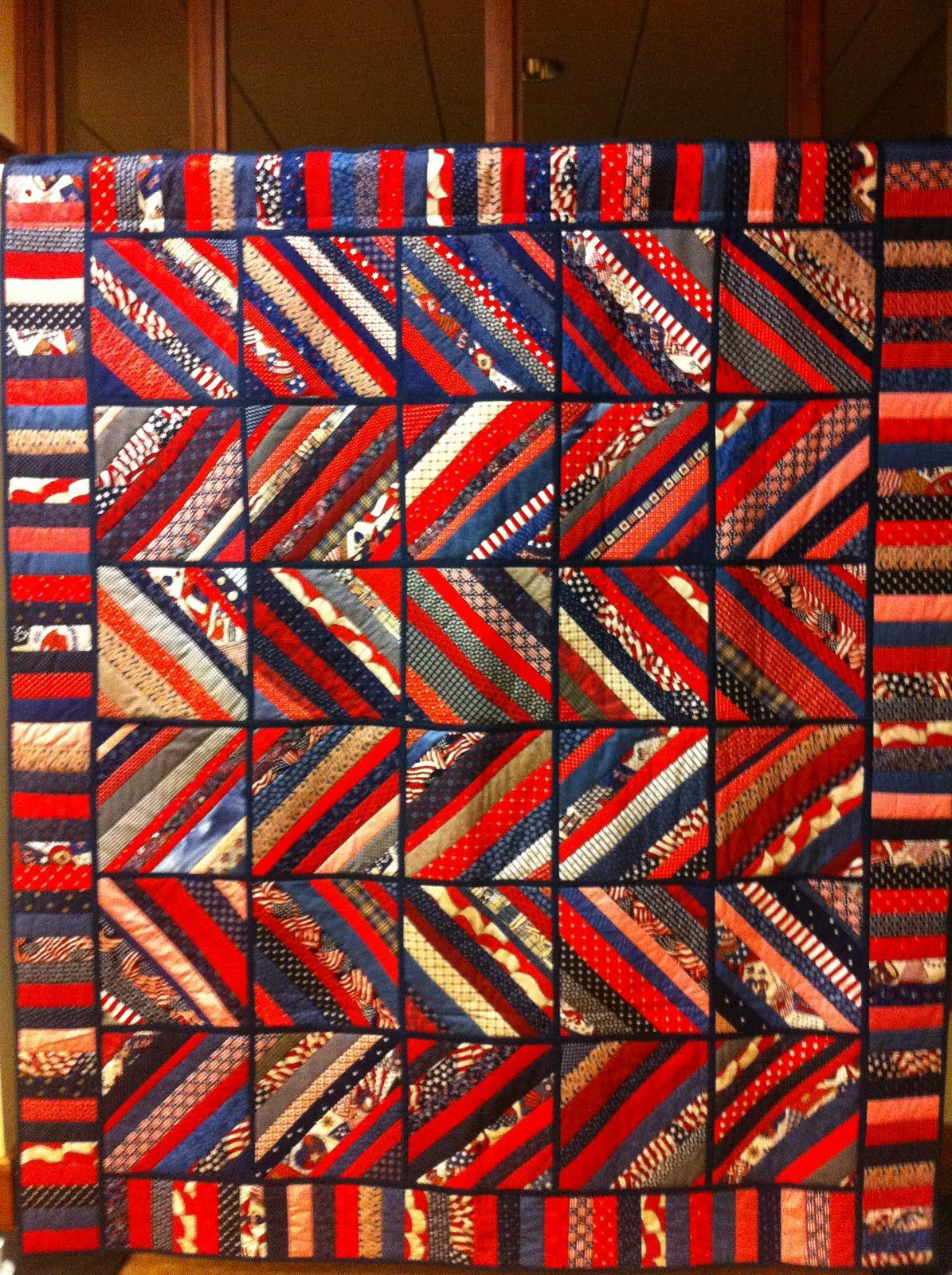 Quilt as You Go Strip Pieced Quilt in red, white, blue and beige ... : strip pieced quilt patterns - Adamdwight.com
