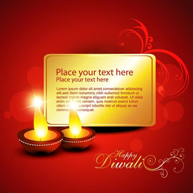 Vector Abstract Beautiful Happy Diwali Template Diya Glowing And Abstract Golden Card With It On Floral Red Backgroun Diwali Cards Diwali Diwali Greeting Cards