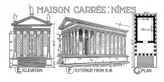 Maison Carree reconstruction rendering, plan, and elevation Image