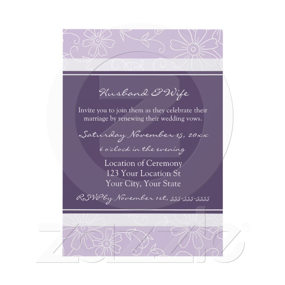 Purple White Wedding Vow Renewal Invitations From Zazzle Com