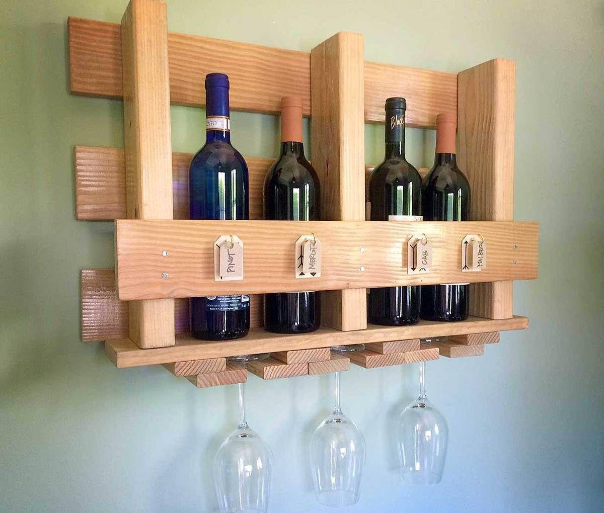 Diy wine glass rack and wine bottle holder wine rack