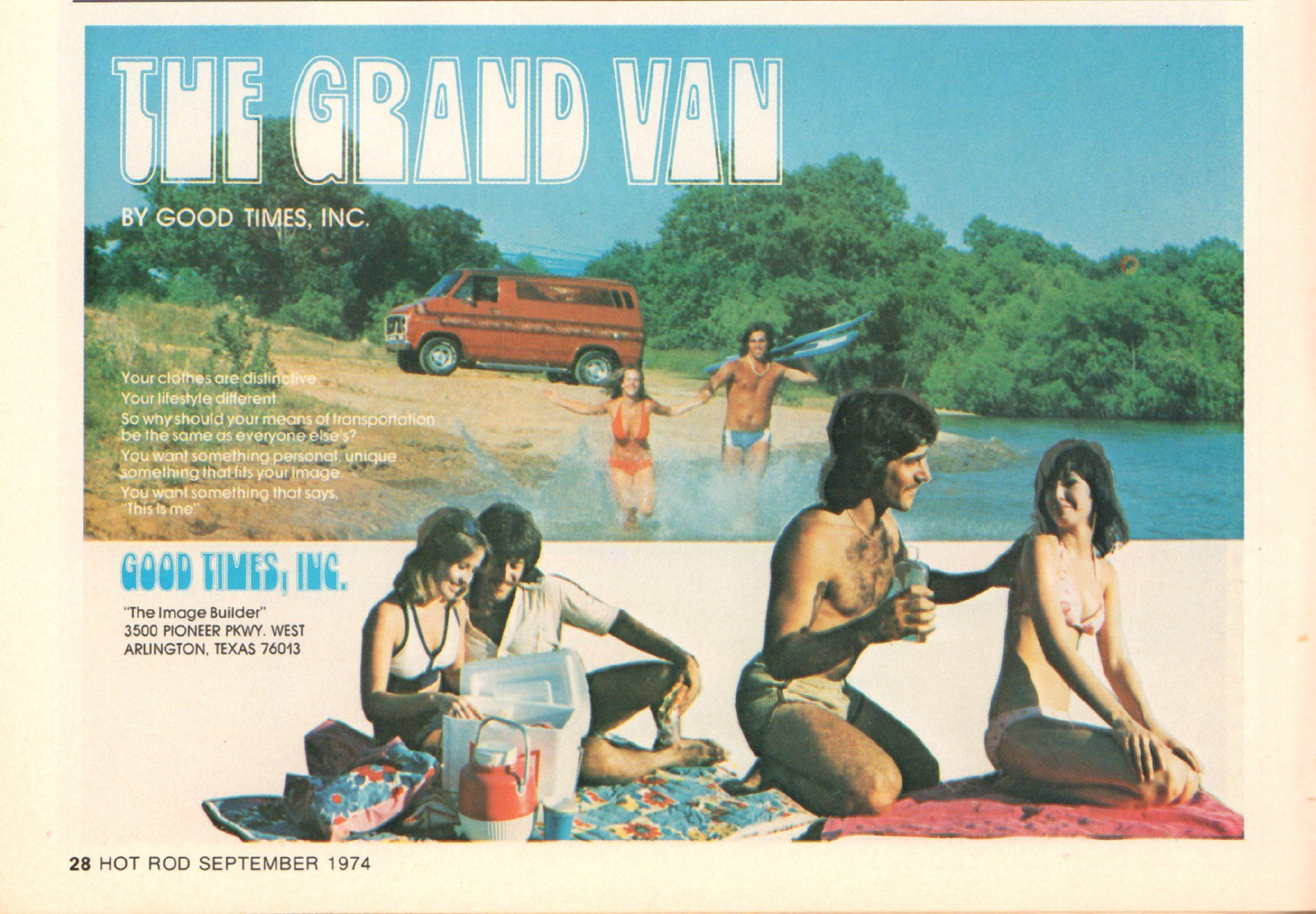 1974 The Grand Van By Good Times Advertisement Hot Rod September 1974 With Images Custom Vans Van Life