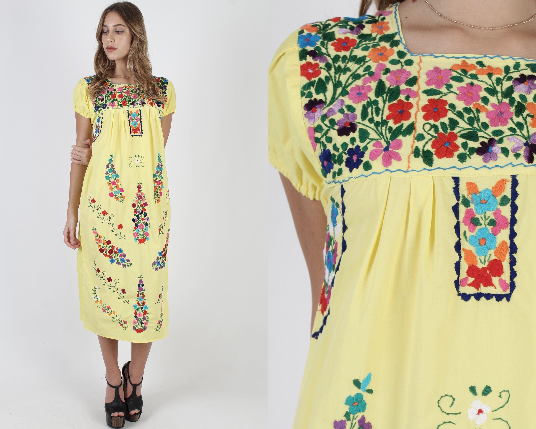 Yellow Mexican Dress Vintage Cotton Vestido Dress 70s Traditional Puebla Dress Bright Floral Embroi Pink Pleated Dress Lace Dress Vintage Mexican Dresses [ 2400 x 3000 Pixel ]