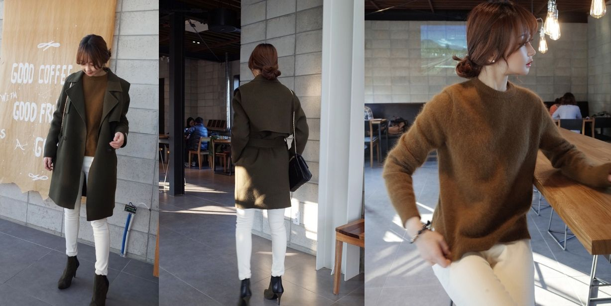 brown sweater and august green coat
