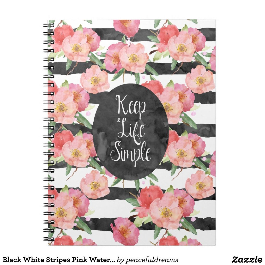Black white stripes pink watercolor floral notebook for the home black white stripes pink watercolor floral notebook arubaitofo Image collections