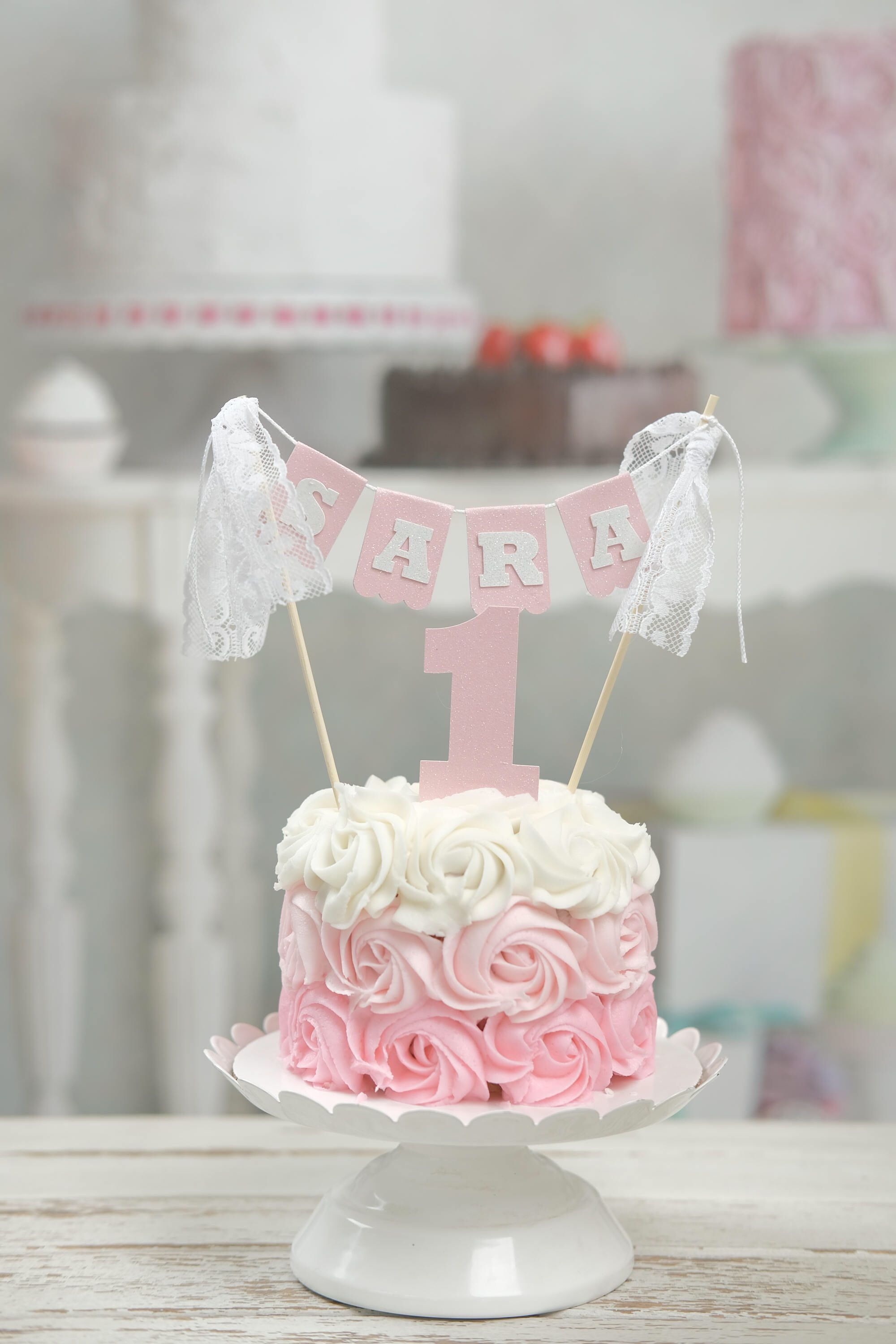 Name Cake Topper First Birthday Cake Topper Name Topper Lace