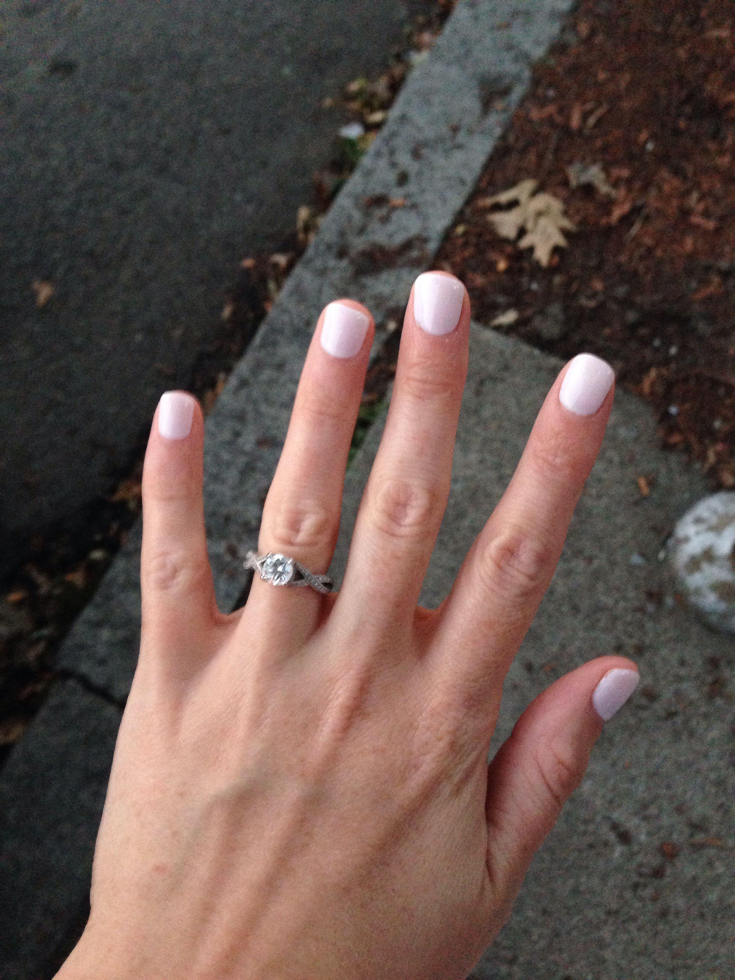 Engagement photo nails. Shellac studio white + romantique. Diamond ...
