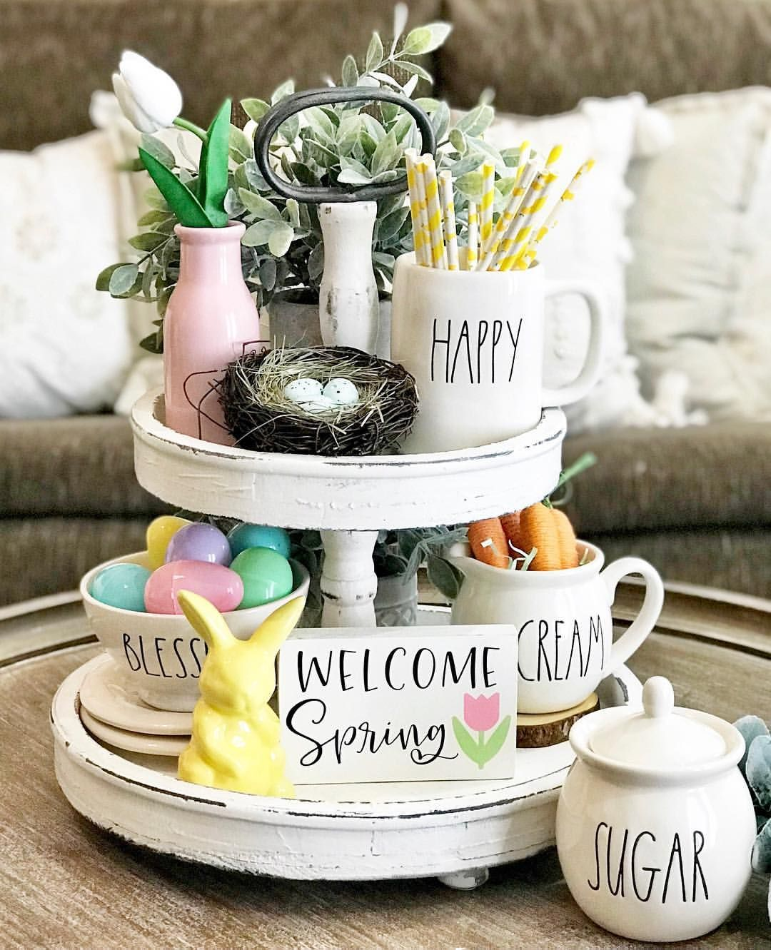 Y All I Have Never Seen Our Wooden Two Tier Stand In White These Won T Arrive Until Early April But I C Tray Decor Kitchen Tray Decor Rustic Easter Decor