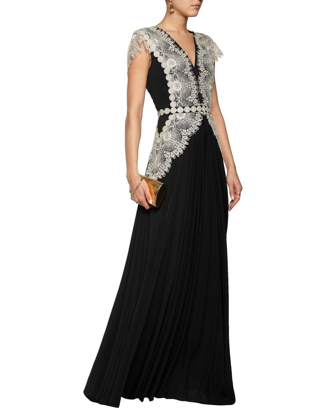 Catherine Deane | Black Goldie Lace-paneled Jersey Gown