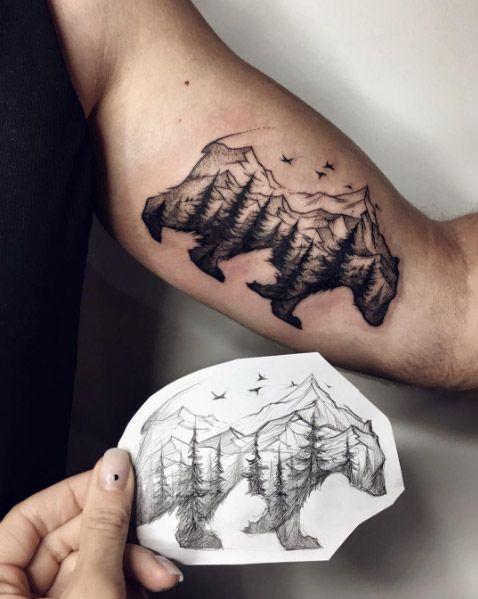 40 Creative Unique Landscape Animal Tattoo Designs Cool Arm Tattoos Tattoos Bicep Tattoo