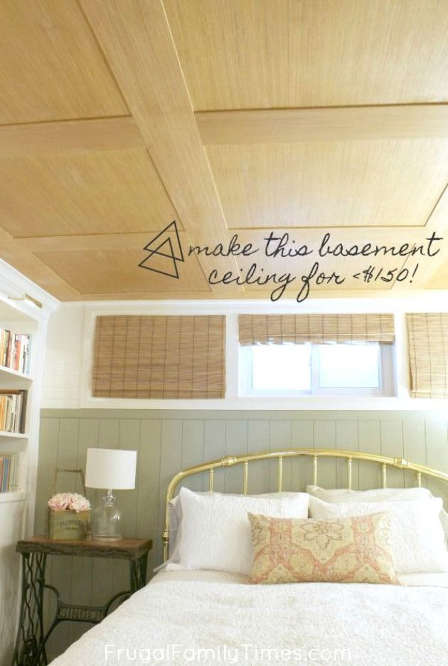 How To Make A Basement Plywood Ceiling That Looks Like Wood Paneling In 2020 Basement