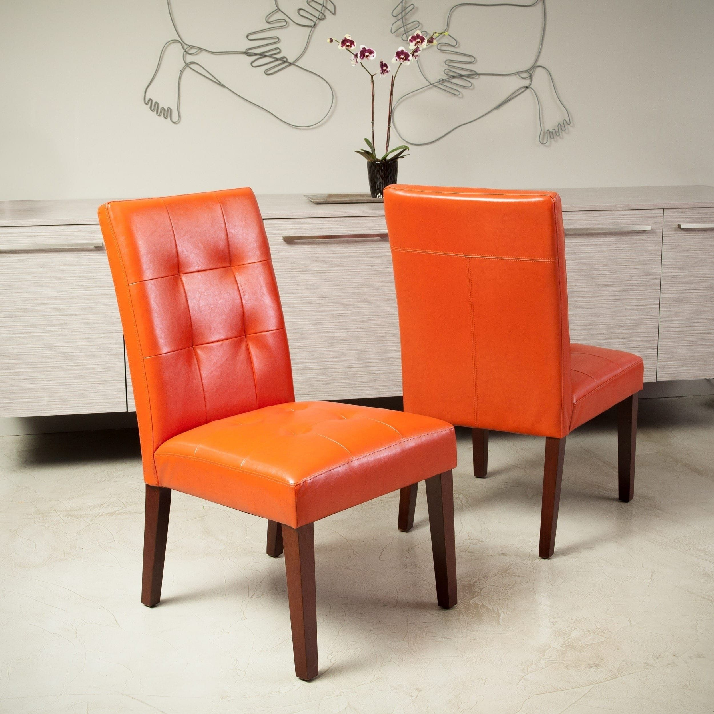 Cambridge Tufted Orange Bonded Leather Dining Chair By Christopher Knight Home Burnt Set Of 2