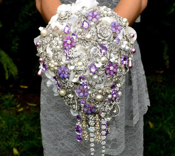 This Is One Bouquet You Ll Never Stop Taling About Lifetime Deposit On Lavender Cascading Jeweled Brooch Made To Order Wedding
