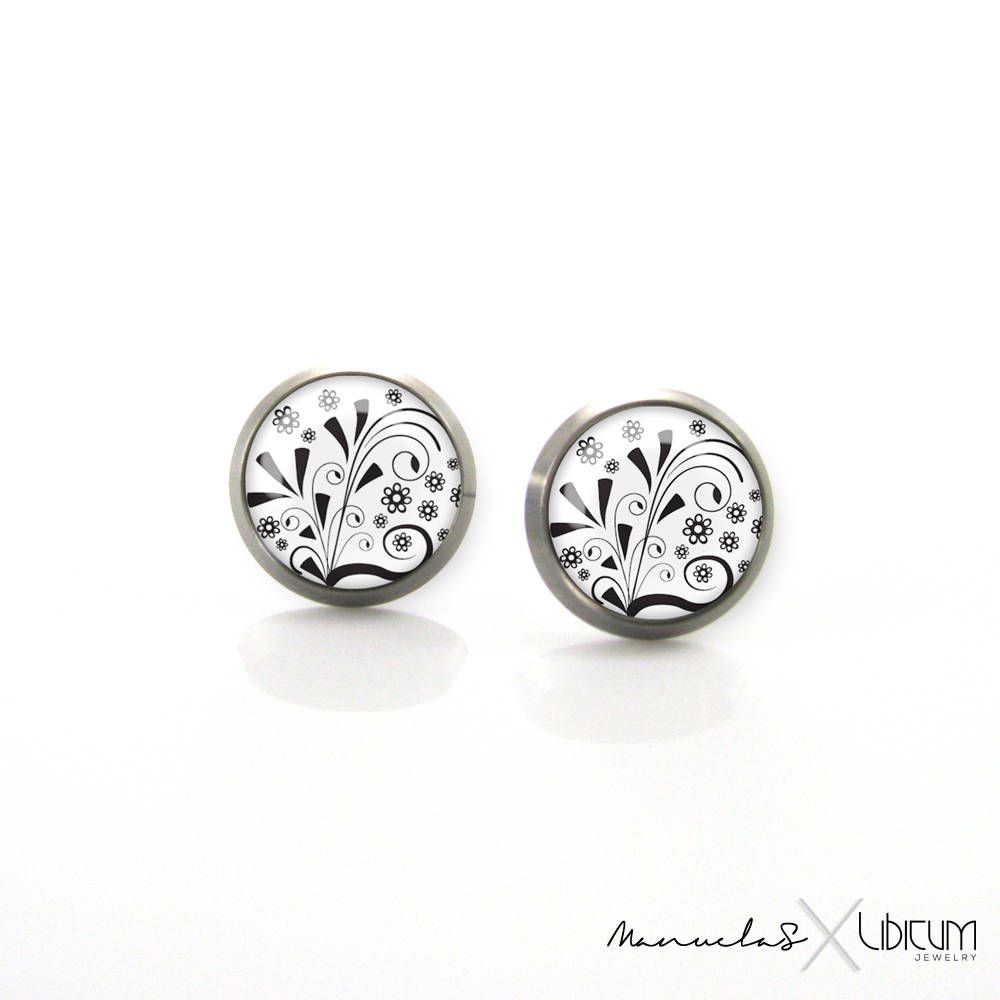 Pure Anium Jewelry Earrings For Sensitive Ears White Black Stud Monochrome Hypoallergenic