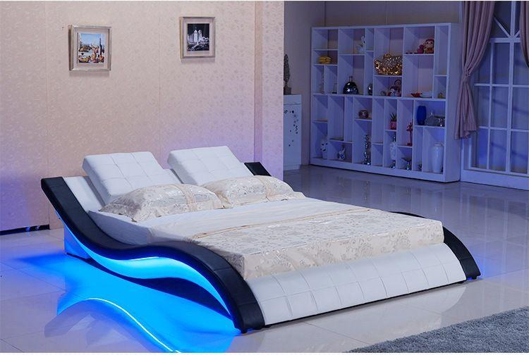 224d4fdfde4b Encontrar Más Camas Información acerca de Moderno de cuero genuino  verdadero/cama cama/cama