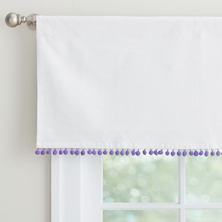 S Bathroom With A Roller Shade Under It Pom Valance Purple