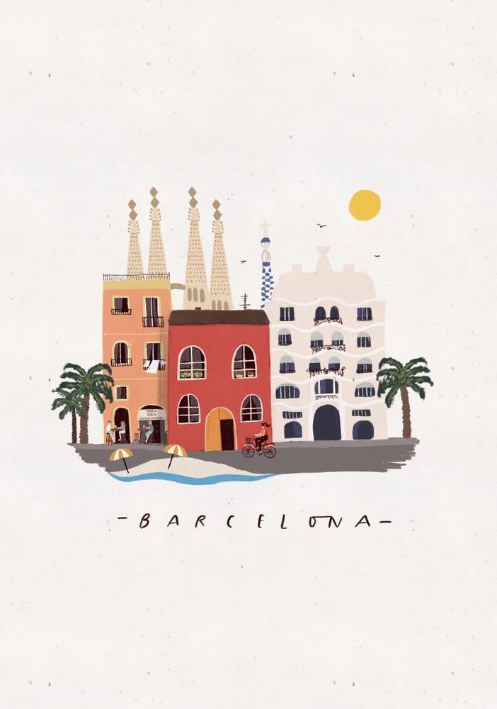 Barcelona Mini Art Print by majatomljanovic