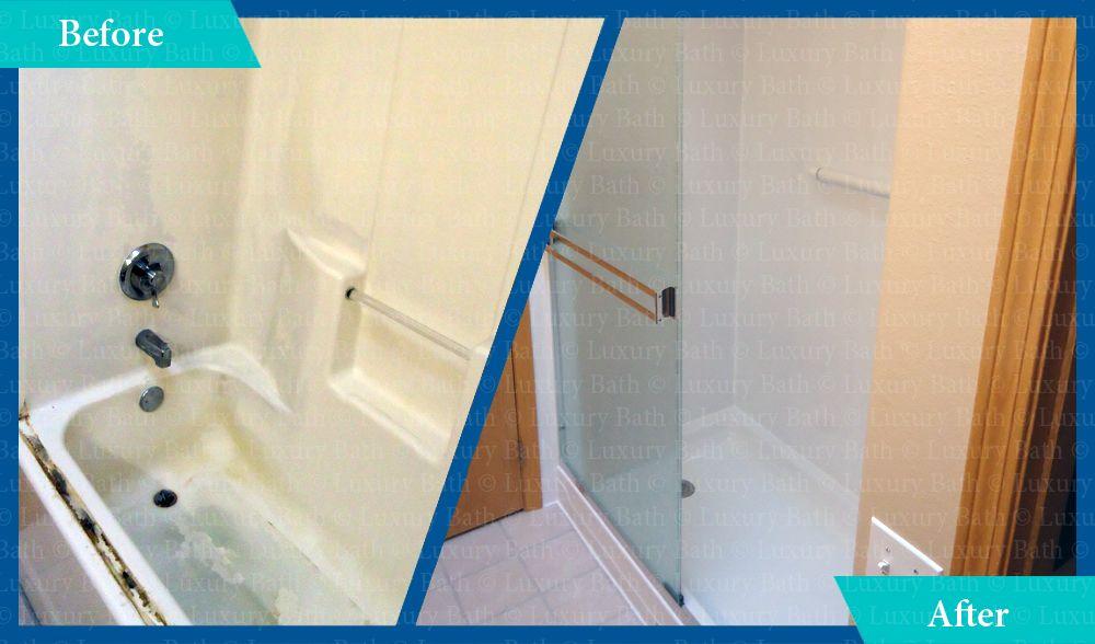 Luxury bath remodel tub to shower conversion before and - Bathroom remodel tub to shower conversion ...