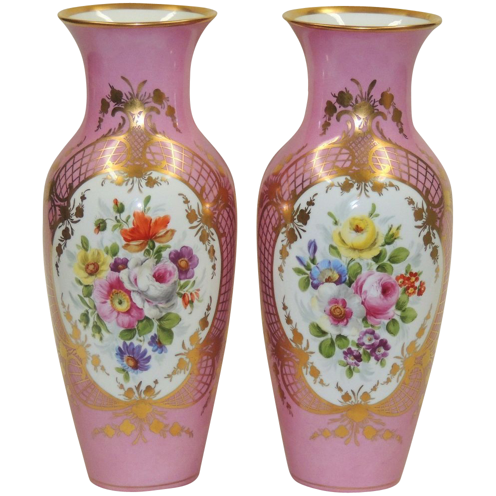 Large pair antique kpm vases pink whand painted florals large pair antique kpm vases pink whand painted florals gilded reviewsmspy