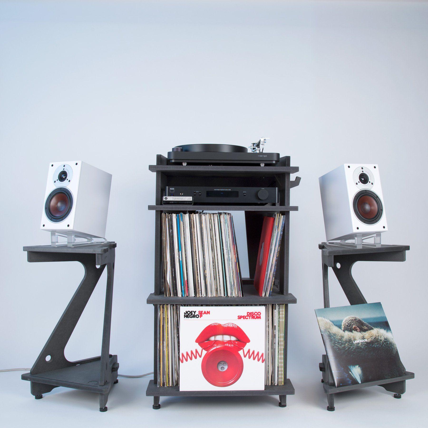 Smoke Grey Speaker Stand for Sonos Play:5 Line Phono Bookshelf Speakers