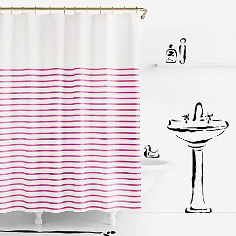 In 100 Cotton This Stylish Shower Curtain Features Thin Horizontal Stripes That Add