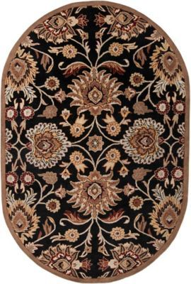 Surya Caesar Classic Floral 6 X 9 Oval Area Rug In Brown Red