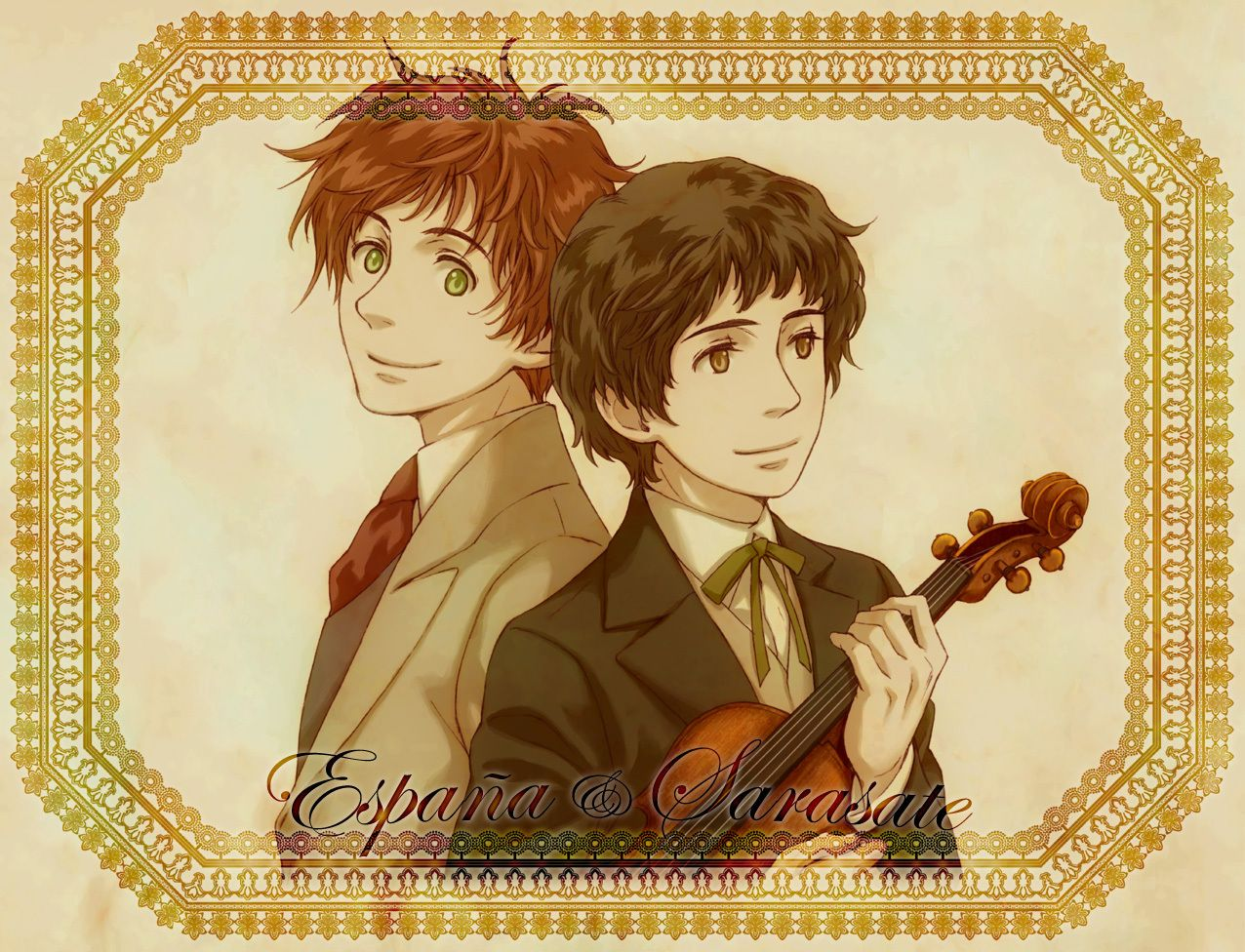 Hetalia characters with Classical composers: Antonio and Sarasate. Now there's a name that's new to me; I'll have to check him out. - Art by 天宮斎賀 on Pixiv, found via losthitsu.tumblr.com