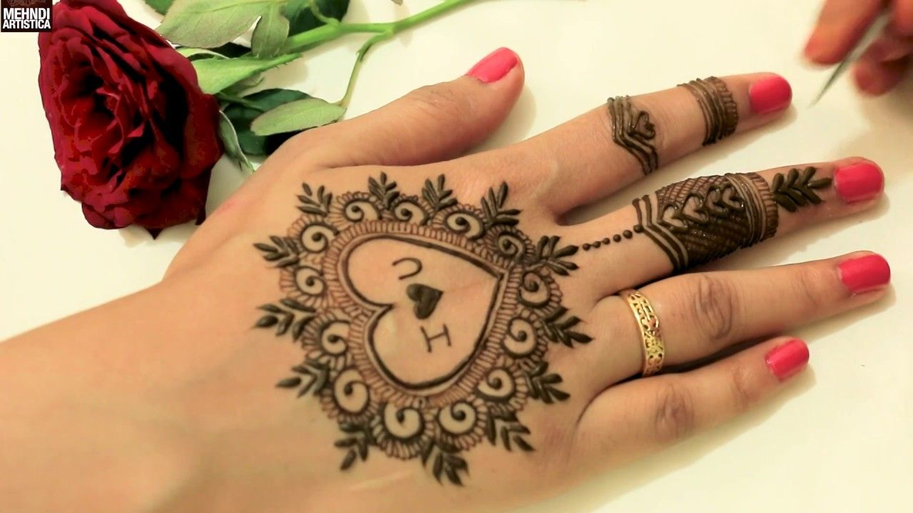 Mehndi Design Couple Hands : Cute heart with love easy simple girlish mehndi design for