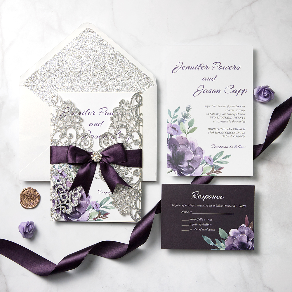 Plum And Mauve Elegance Silver Glitter Wedding Invitations Pwil092 Pro Wedding Invites Plum Wedding Invitations Silver Glitter Wedding Invitations Glitter Wedding Invitations