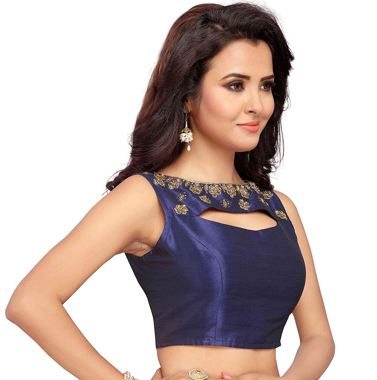 d5849cf83c9c4 STUDIO SHRINGAAR WOMEN S NAVY BLUE POLY RAW SILK EMBROIDERED READYMADE  SAREE BLOUSE  Amazon.in  Clothing   Accessories