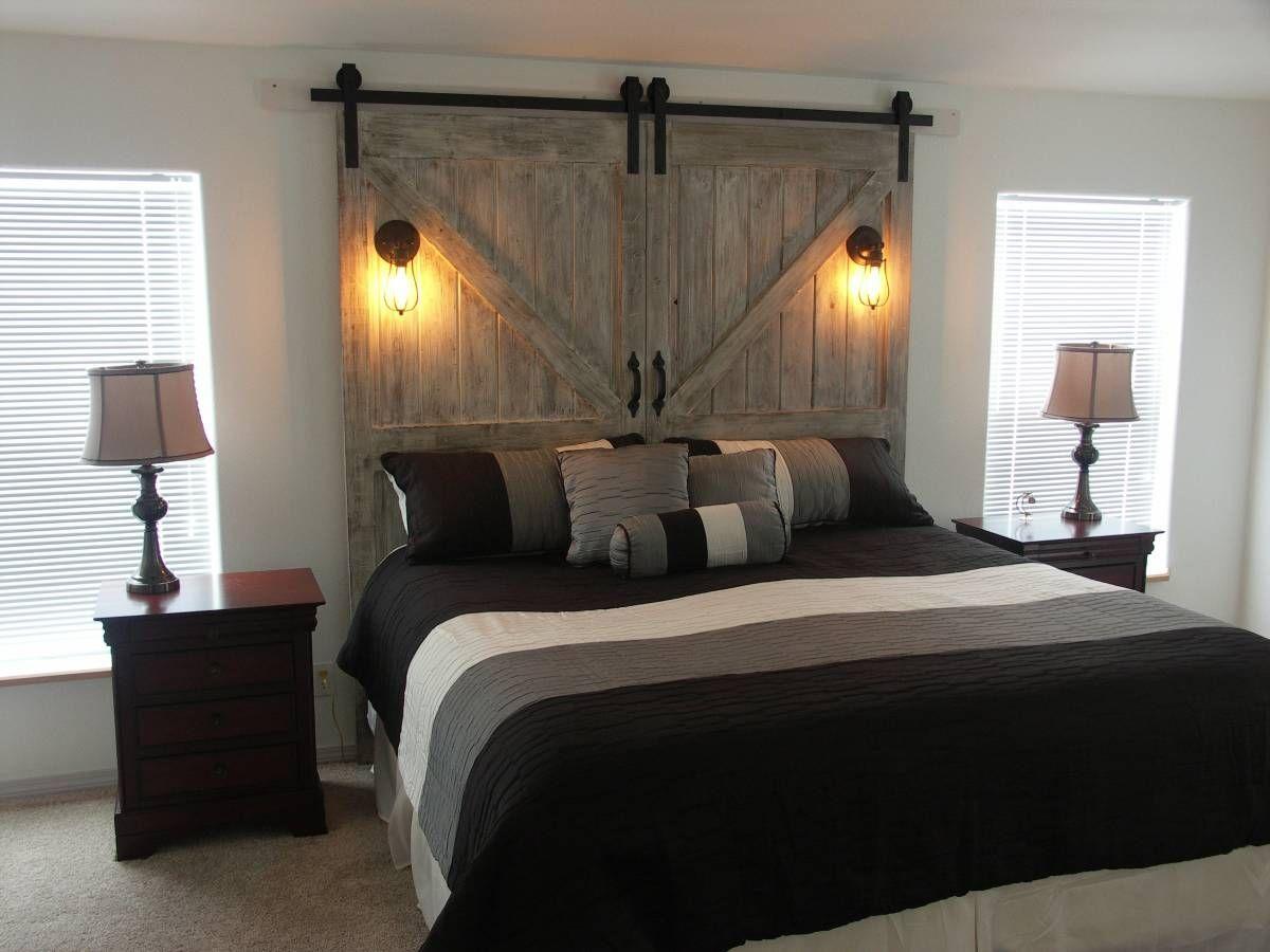 Grey Barn Door Headboard King Or Queen Bed Door Bed Frame