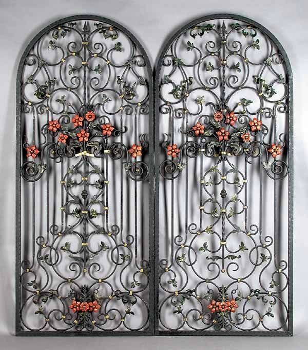 Ornate Pair Antique Wrought Iron Arched Window Guards ...