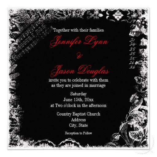 Black White Red Vintage Print Wedding Invitations