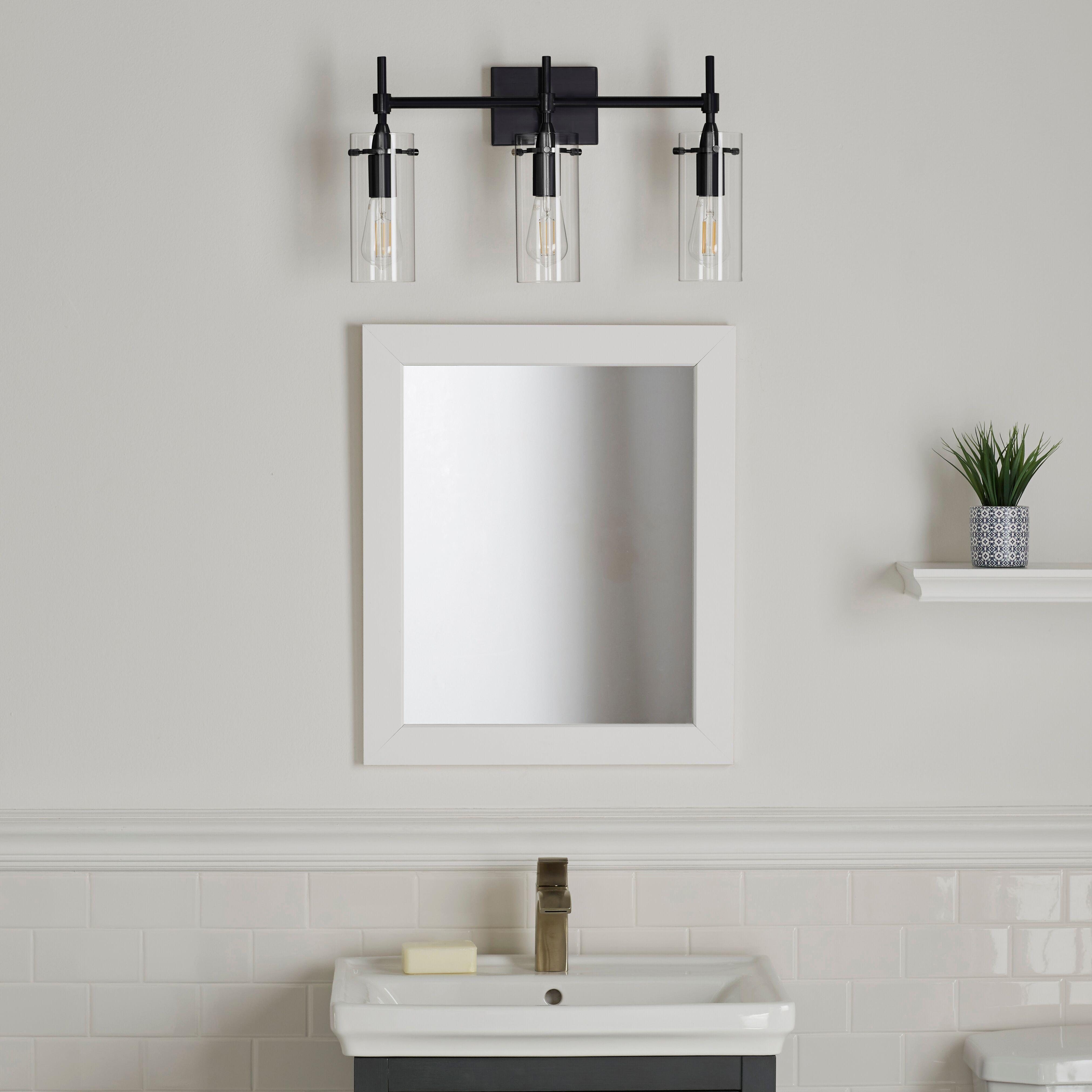 Farmhouse inspired, the Effimero three light bathroom