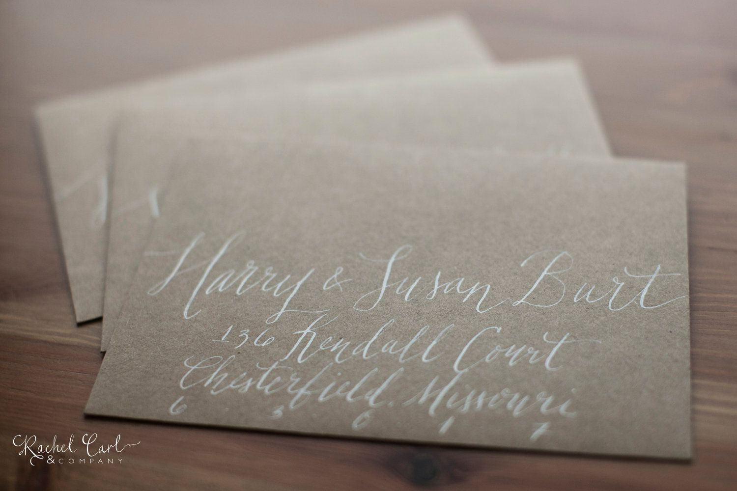 how to return address wedding envelopes%0A Wedding or Save the Date Envelope Calligraphy Hand Addressing  Kendall  Scripted Font White Ink Kraft