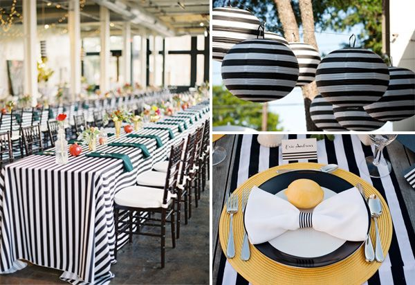 The Black And White Stripe Napkin Tie Paper Lanterns Are Great Touches To Reception