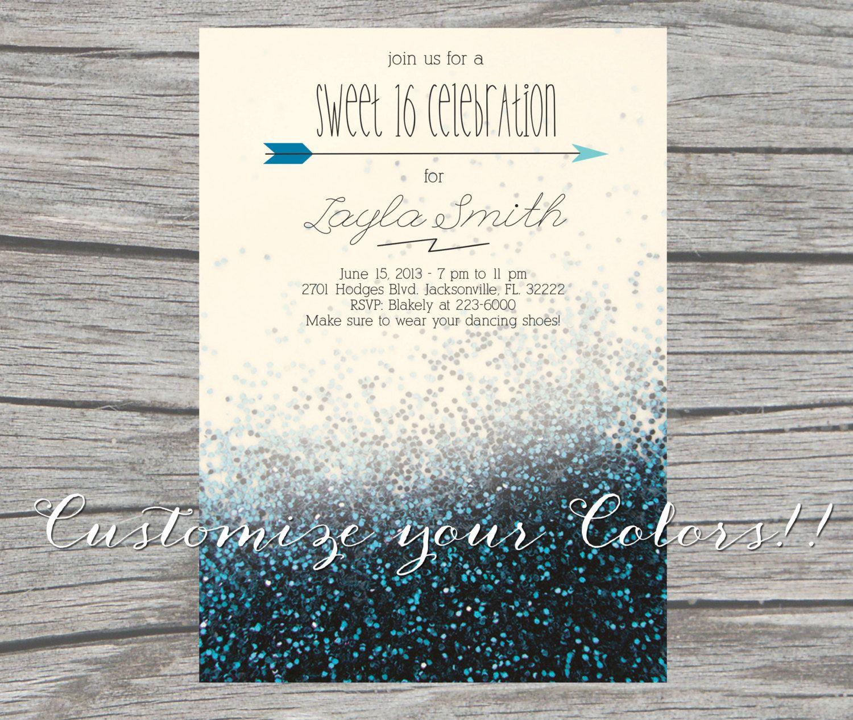 Glitter Sweet 16 Invitation PrintableDigital Customize your