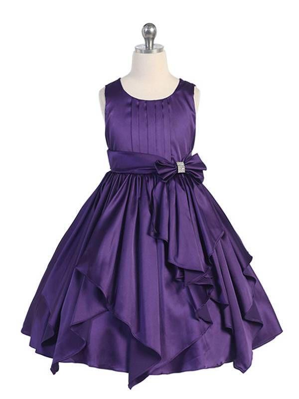 Purple Elegant Satin Ruffled Flower Girl Dress size 4 6 8 10 12 14 ...