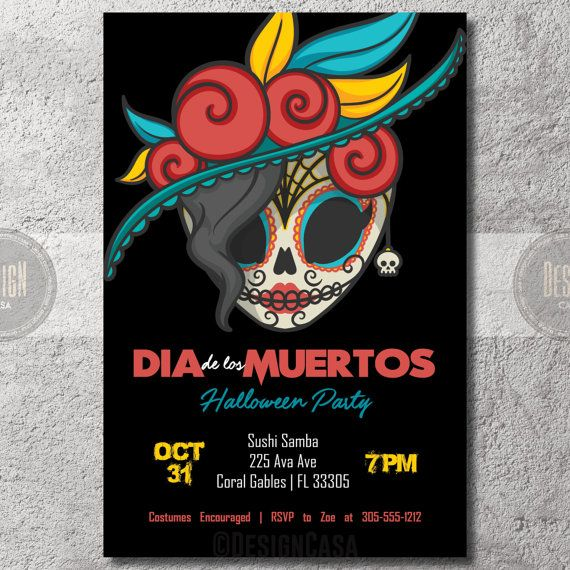 Dia De Los Muertos Invitation Day Of The Dead Folk Art Sugar Skull Halloween Digital In 2021 Dia De Los Muertos Halloween Digital Sugar Skull Birthday