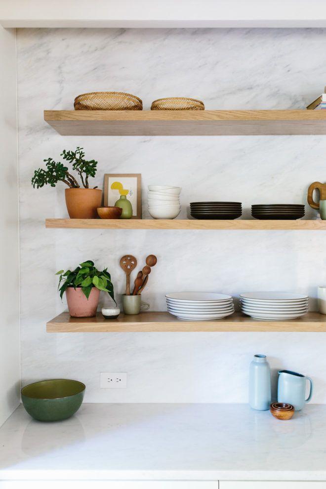 Sneak A Peek Lauren S Warm Modern Kitchen Open Shelving