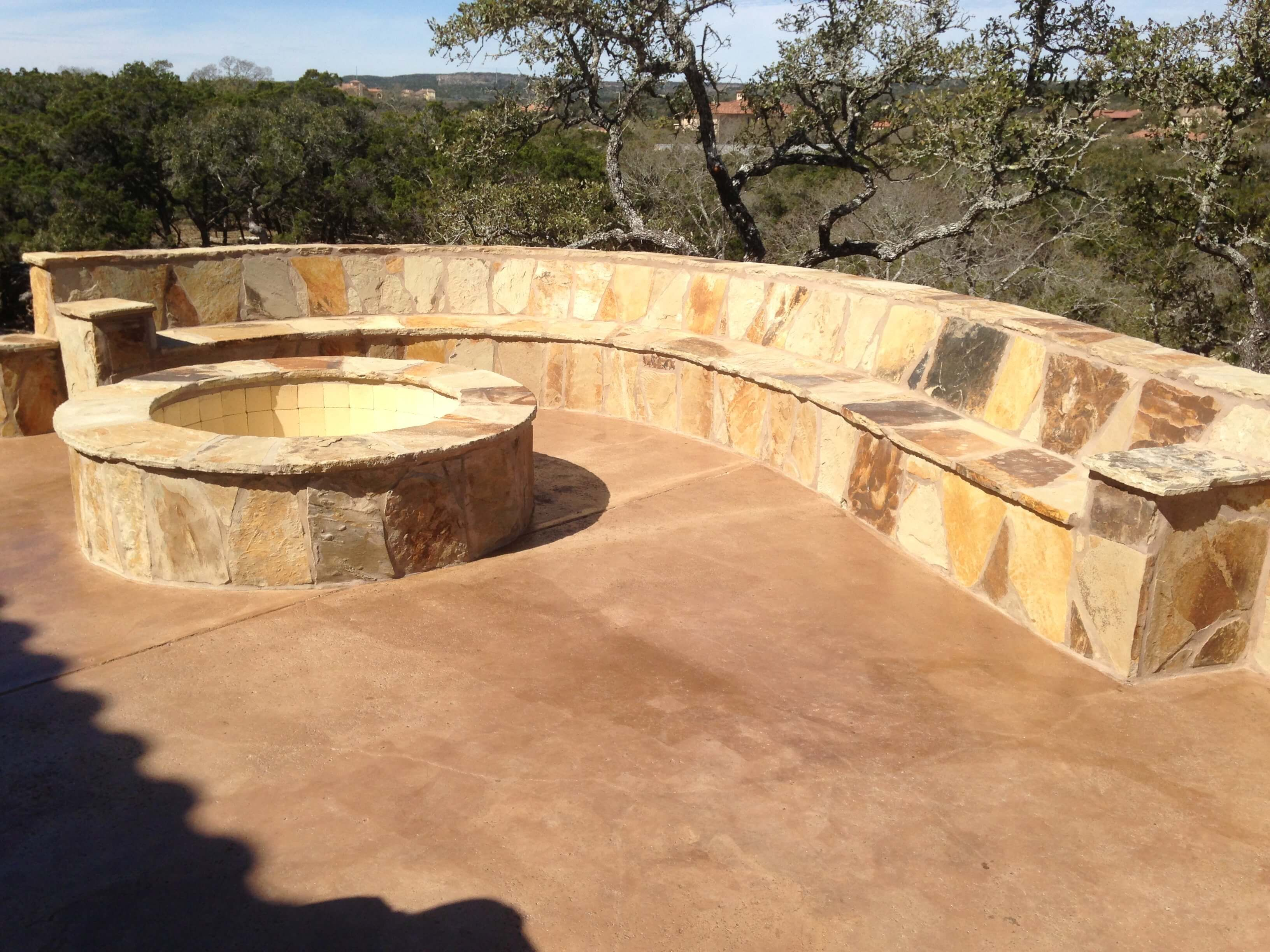 Flagstone Fire Pit With Large Flagstone Seating Area